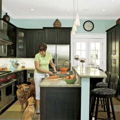 woman and dogs gathered in remodeled bungalow kitchen