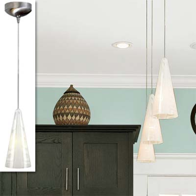 mini pendant chandelier inset in image of remodeled bungalow kitchen