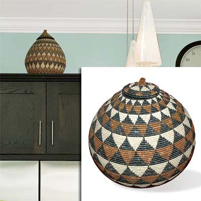 woven basket inset in image of remodeled bungalow kitchen