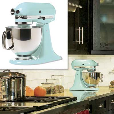 blue kitchen aid mixer inset in image of remodeled bungalow kitchen