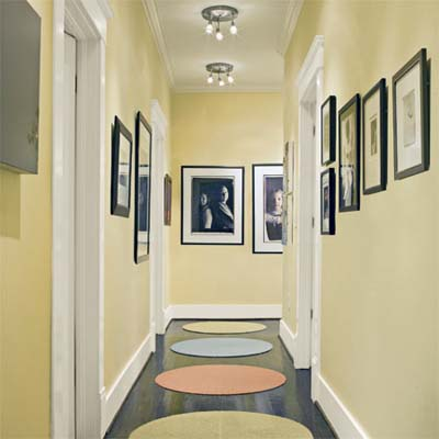 experimental decorated hallway of this remodeled bungalow kitchen