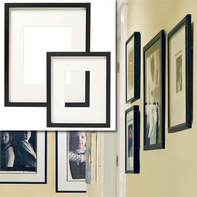 examples of gallery frames inset in the image of the decorated hallway of this remodeled bungalow kitchen