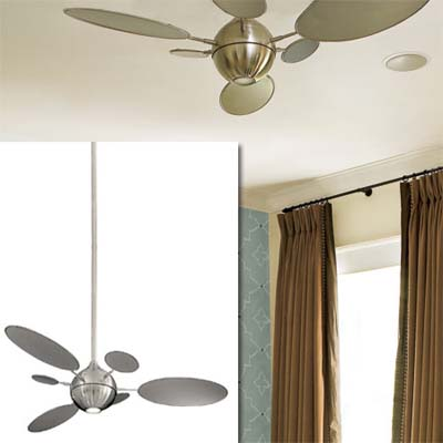 brushed nickel fan with light inset in image of this remodeled bungalow bedroom
