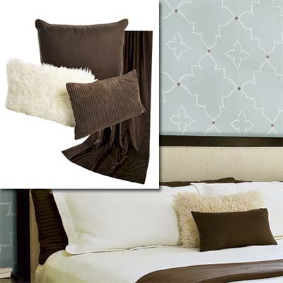 soft textured pillow covers and luxe drapes inset in image of this remodeled bungalow bedroom