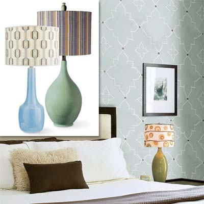 fun lamps inset in image of this remodeled bungalow bedroom