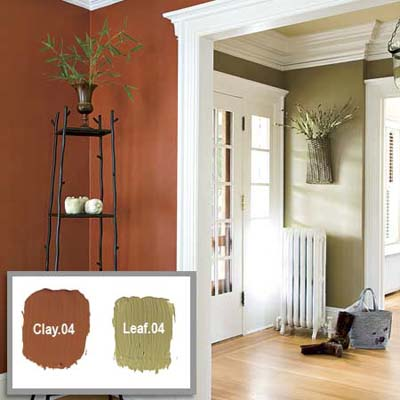 passageway between two rooms showing the use of muted opposite paint tones in the two rooms