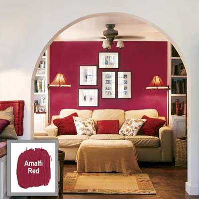 neutral-color archway showing a brightly painted wall in the room beyond