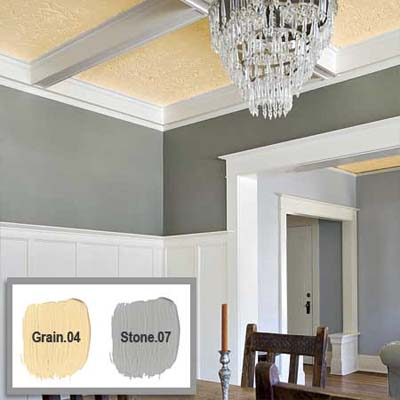colored detail is used to maximize the height of this tall ceiling