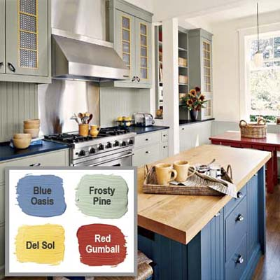 this kitchen creates balance with a sixty thirty ten distribution of colors