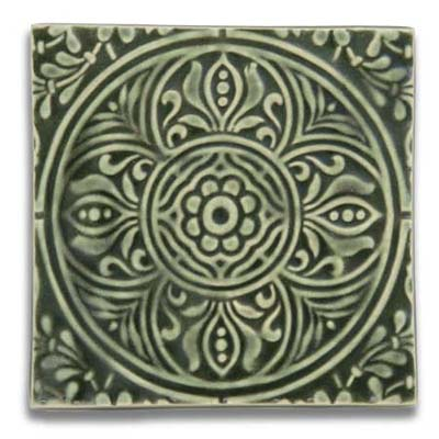 square ceramic tile from derby pottery called orient