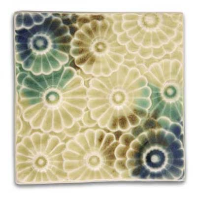 square flower ceramic tile from derby pottery