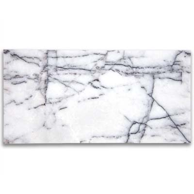 translucent white crystal marble infused with lilac and intersecting veins of gray, black, and deep purple from ann sacks