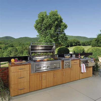 bamboo built outdoor kitchen