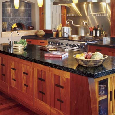 black granite stone countertop in zen-style wood kitchen