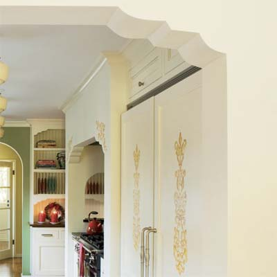 period appropriate details such as this cascading archway and painted scrollwork