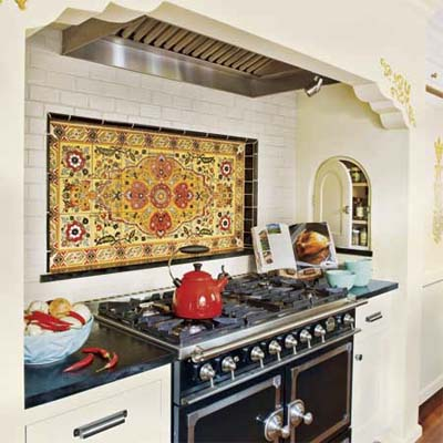 stove alcove with decorative tile backsplash