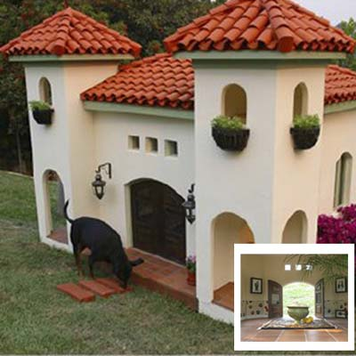 Rachel Hunter's hacienda-style doghouse