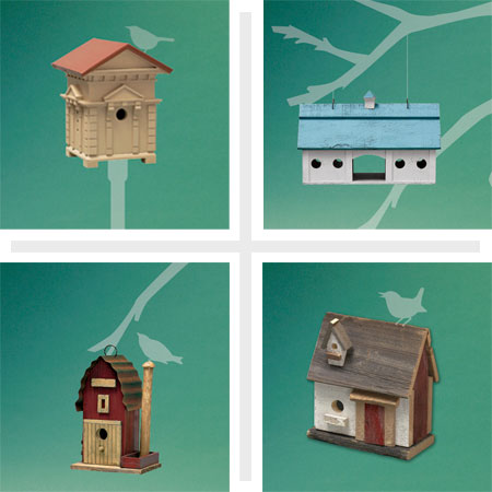 composite of four architectural style birdhouses