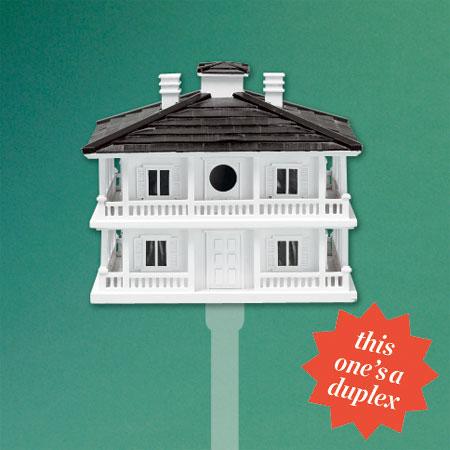 plantation-style, duplex architectural birdhouse