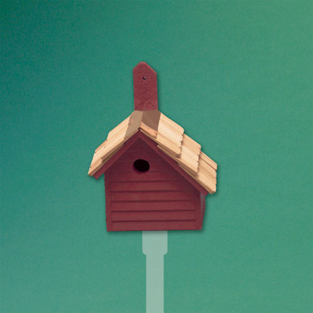 rustic-style architectural birdhouse