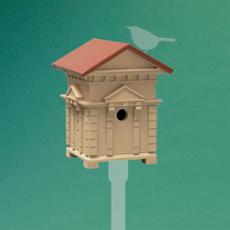 neoclassical-style architectural birdhouse