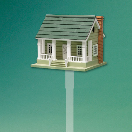 cozy cottage-style architectural birdhouse