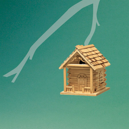 log cabin-style architectural birdhouse