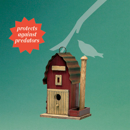 gambrel-roofed barn-style architectural birdhouse good for protecting birds against predators