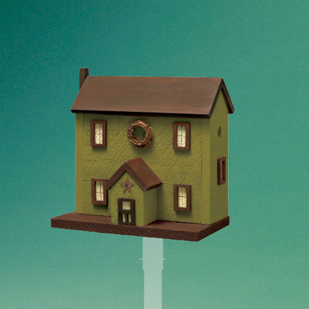 charming colonial-style architectural birdhouse