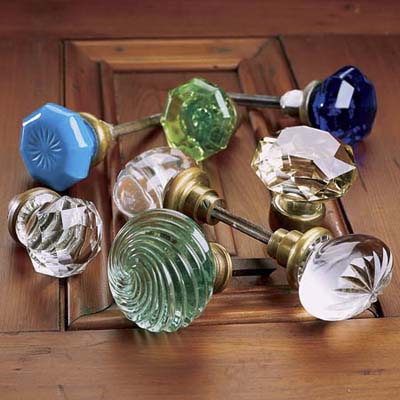 collection of brightly colored sparkling vintage look doorknobs