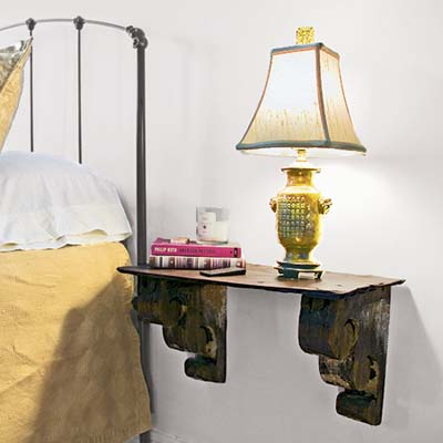 Flank the bed 100 diy upgrades for under 100 this old for Wall mounted nightstand diy