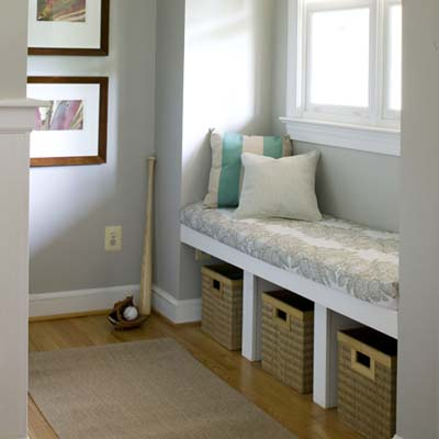 window seat with cubbies and bin storage