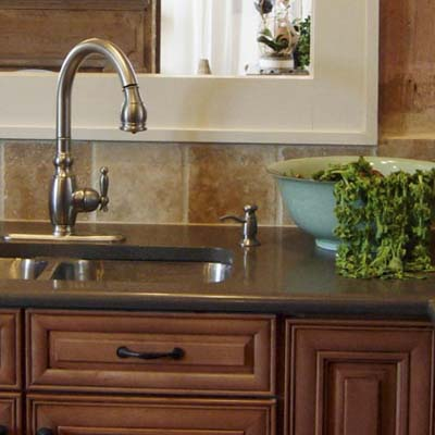 kitchen sink with built-in soap dispenser