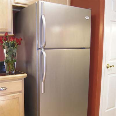 stainless-steel look fridge