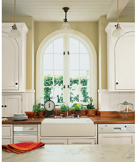 arched windows and cabinets