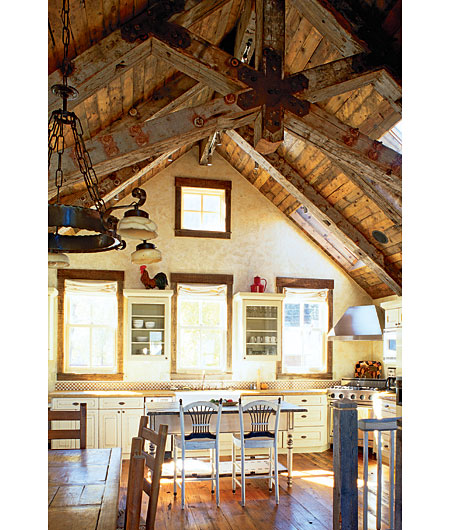 beams farmhouse kitchen