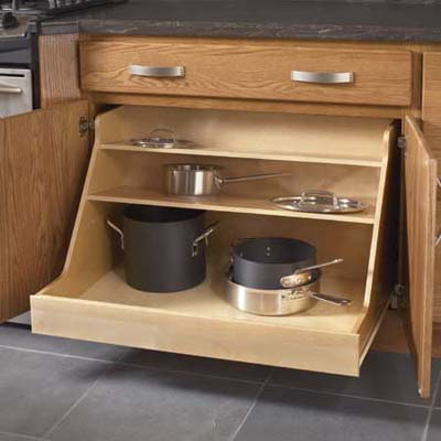 Smart storage easy kitchen and bath upgrades this old for Kraftmaid storage solutions