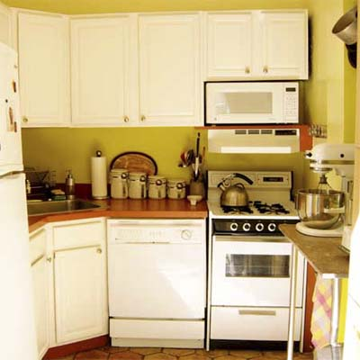 Kitchen with bright colors and painted cabinets