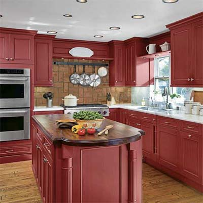 kitchen with bold red cabinets