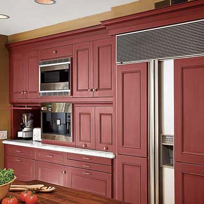 kitchen remodel that uses lots of red