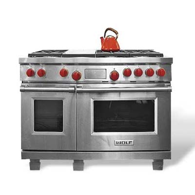 six-burner gas range with electric oven