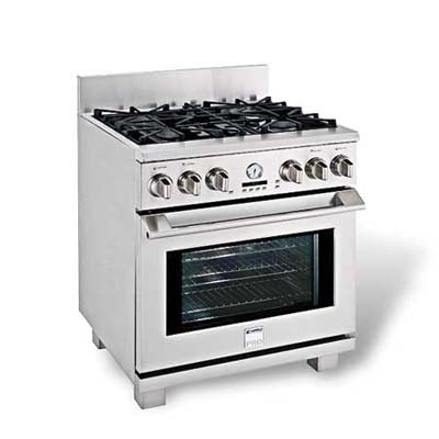 scaled down duel-fuel four-burner range with one electric oven