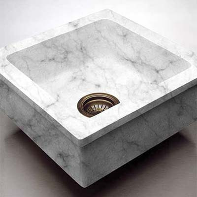 custom built carrara marble prep sink with cutting board