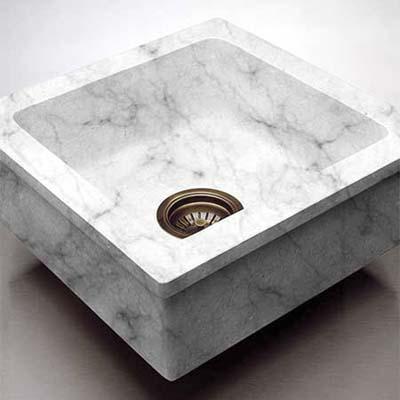 custom built carrara marble prep sink with cutting board