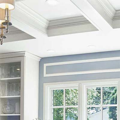 coffered ceiling made of wood frame, drywall and crown molding