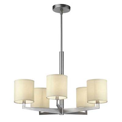 satin-nickle five arm chandelier with ceiling-mounted rod