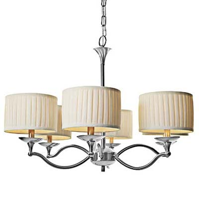 six curved arm chandelier with brushed-nickel fixures