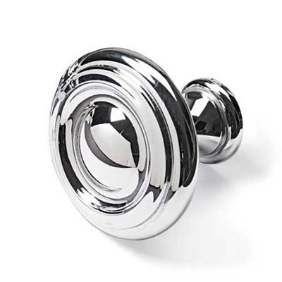 chrome plated flat faced knob that approximates the look of cast metal