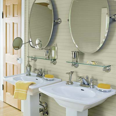 his-and-hers pedestal sinks in upstairs master bath of remodeled 1909 Craftsman