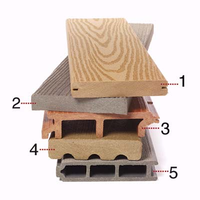 five different types of composite decking material
